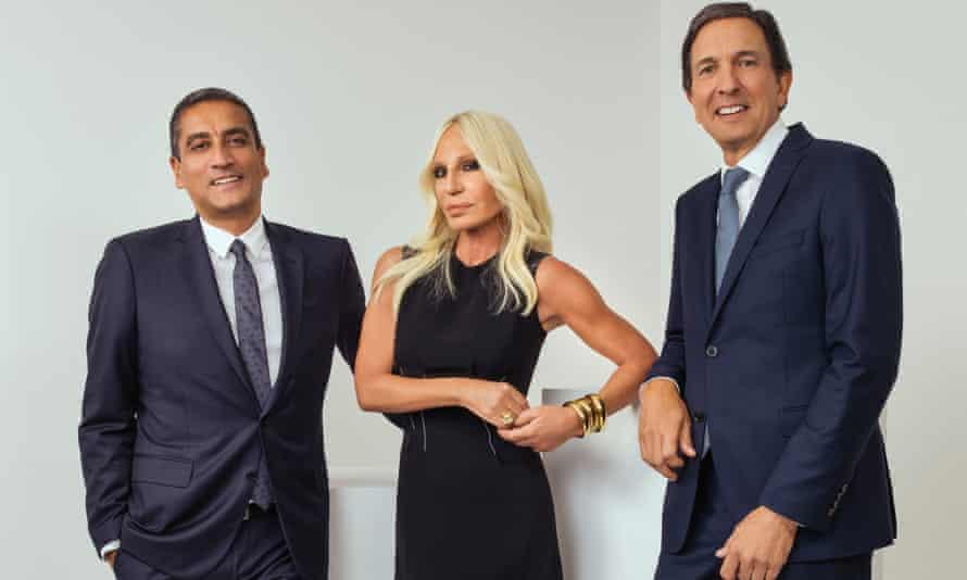 Versace chief executive Jonathan Akeroyd, Donatella Versace and Michael Kors chief executive John D Idol.