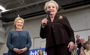 Former Secretary of State Madeleine Albright introduces Democratic presidential candidate Hillary Clinton at a campaign event at Rundlett Middle School, in Concord, N.H., Saturday, Feb. 6, 2016