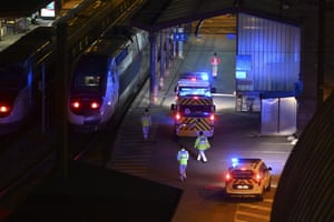 Strasbourg, France Ambulances stand by to load patients affected with Covid-19 aboard a medicalised TGV (high-speed train) . The train is a means of relieving inundated hospitals in Alsace