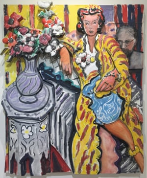 Woman Reclining in a Yellow Robe, 1997, Oil on canvas, mounted on sculptured foamboard In this late painting Rivers is not mocking anything or provoking anyone. He has faithfully copied a masterpiece by Matisse, paying simple homage to a modernist master. Yet the differences between his honest copy and the original are telling. His touch is rougher, quicker, and much more raw. In copying a sophisticated French masterpiece he defines himself as an American, born in the Bronx, fated to be gritty.
