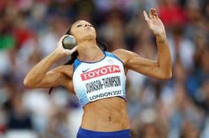 Katarina Johnson-Thompson competes in the Women's Heptathlon Shot Put.