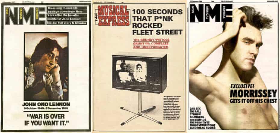 Front covers of John Lennon, The Sex Pistols vs Bill Grundy and Morrissey.