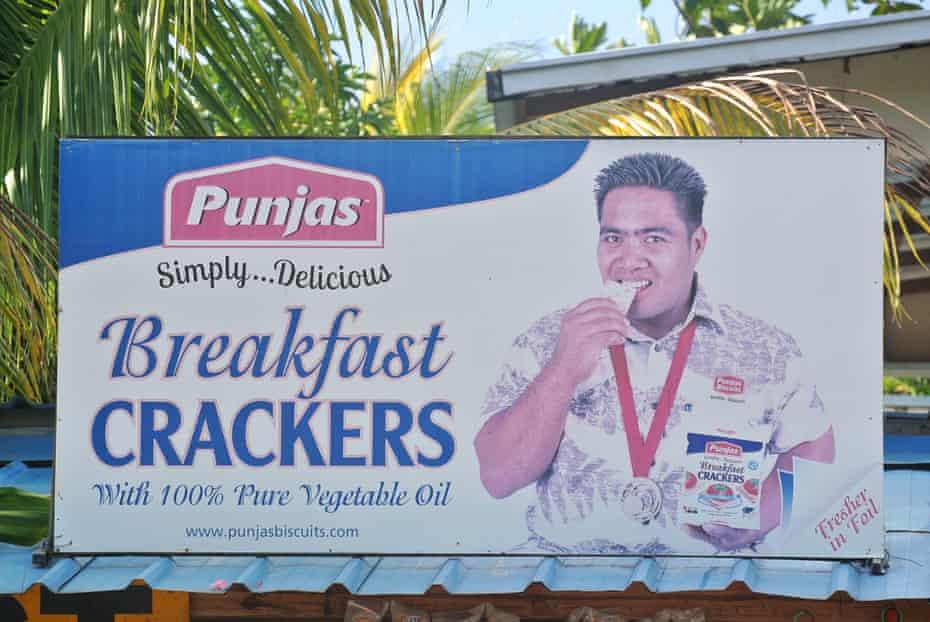 Billboards featuring Katoatau are prominent throughout Kiribati