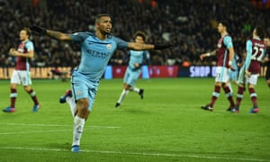 Manchester City's Brazilian striker Gabriel Jesus celebrates scoring his first goal for the club to make it 3-0 against West Ham.