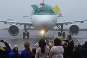 The aircraft carrying Pope Francis Knock airport in Knock, County Mayo