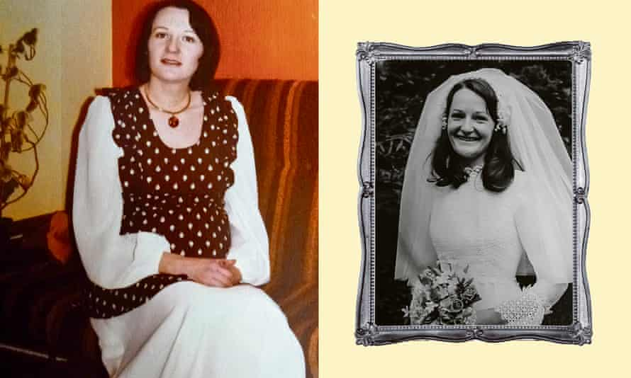 Lyn Armstrong, who turned her wedding dress (right) into a maternity outfit.