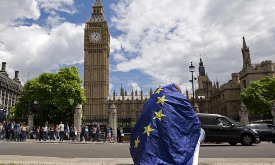 Demonstrator draped in EU flat outside parliament