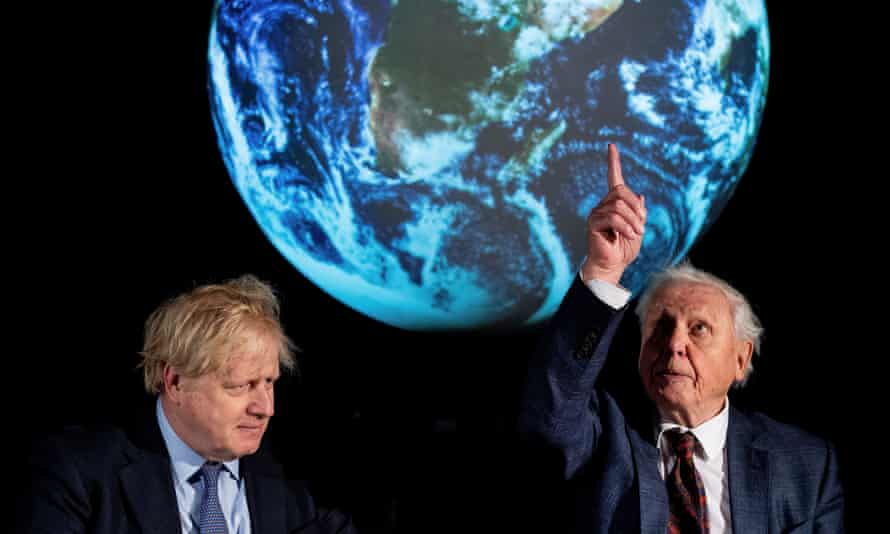 The PM and Sir David Attenborough at the launch of the Cop26 at the Science Museum, London. Starmer says the PM is delivering 'a cabaret of soundbites' rather than the global leadership needed.