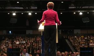 Nicola Sturgeon addressing the SNP conference.