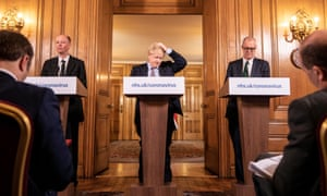 Chief medical officer Chris Whitty, PM Boris Johnson and Chief scientific officer Sir Patrick Vallance give a press conference on the pandemic, 16 March 2020