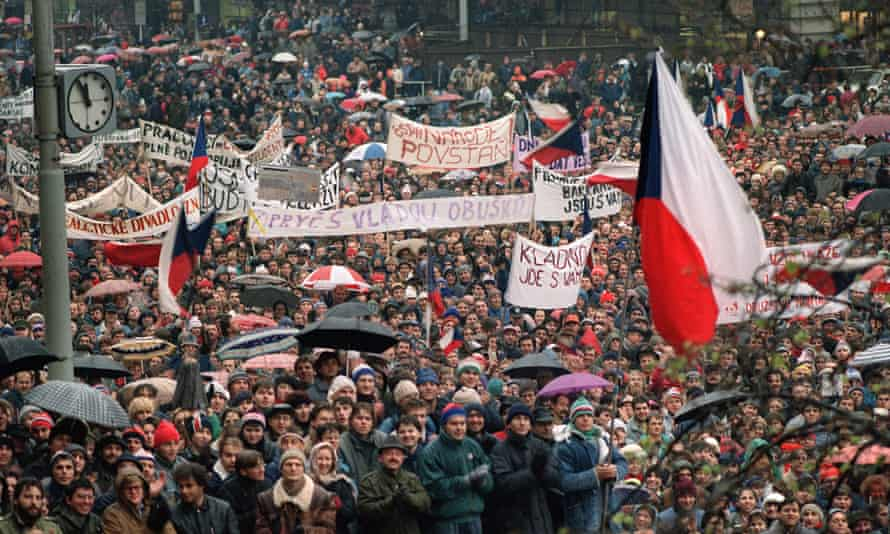 A protest rally at Wenceslas Square in Prague, 1989, during which students demanded greater democracy, the end of communist rule and free multiparty elections.