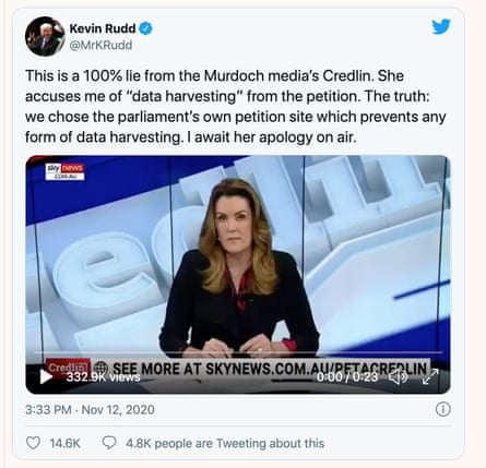 A tweet from former Australian prime minister Kevin Rudd about a segment on Sky about his push for a royal commission into the Murdoch media.