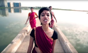 Sofia Ashraf in the Kodaikanal Won't video, which parodies Anaconda by Nicki Minaj.