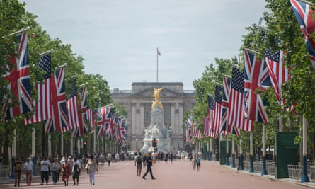 The Mall in London lined with American and union jack flags ahead of Donald Trump's state visit.