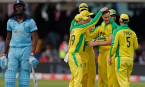 Jason Behrendorff is congratulated on his way to a five-wicket haul against England at Lord's.