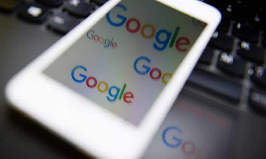 Google logo on an iphone