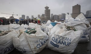 Bags of plastic recovered by Ocean Cleanup on display in Vancouver in December 2019.