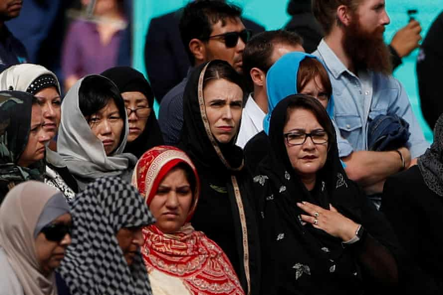 Jacinda Ardern attends the Friday prayers outside Al-Noor mosque in Christchurch, 10 days after the shooting there.