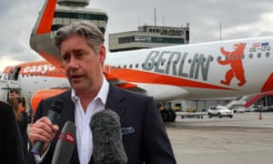 The EasyJet chief executive, Johan Lundgren, speaks at Tegel airport in Berlin.