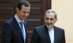 Syrian president Bashar Assad meets Ali Akbar Velayati, an adviser to Iran's Supreme Leader Ayatollah Ali Khamenei, in Damascus.
