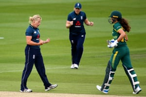 Katherine Brunt of England celebrates after taking the wicket of Laura Wolvaardt as the South African heads back to the pavilion.
