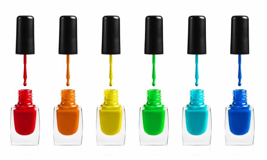 a selection of nail polish bottles