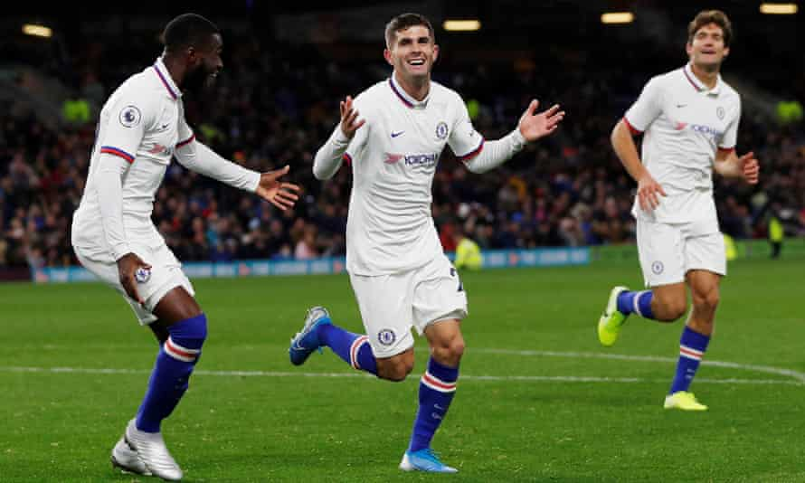 Christian Pulisic celebrates completing his hat-trick during Chelsea's win at Burnley.