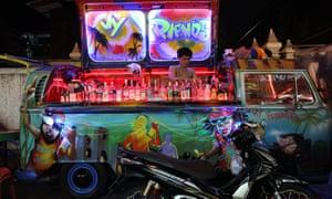 Car bar … a VW combi converted into a mobile cocktail bar in Bangkok.