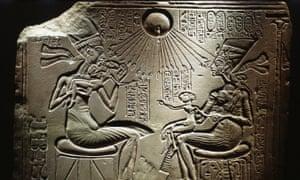 Akhenaten and Nefertiti with their children.