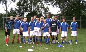 A 14-year-old Christian Eriksen, seventh left, with his team-mates in the Lillebælt school team at the Ekstra Bladets school football tournament in 2006.