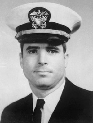 Portrait of John S McCain III in naval uniform during the 1960s.