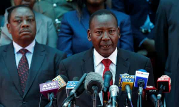 Kenya's interior minister Joseph Nkaissery addresses a news conference on the closing down of Dadaab.