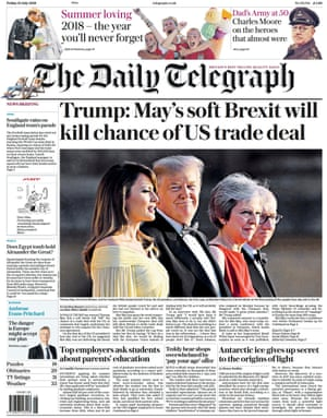 Telegraph front page, Friday 13 July