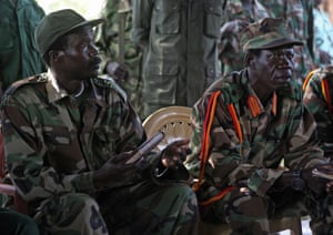 Kony, pictured here in South Sudan in 2006 with his feared deputy Vincent Otti