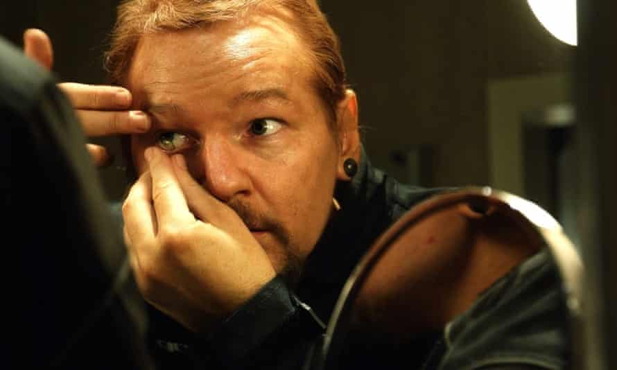 'Think ginger, goth David Brent' … Julian Assange escapes for some air in Risk.