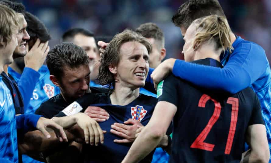 Luka Modric is the centre of attention after Croatia's World Cup defeat of Denmark on penalties, after he had missed a late spot-kick in extra time.