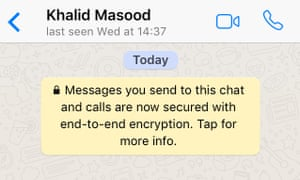 Screengrab from Masood's WhatsApp account