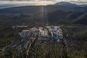 An aerial view of the official refugee camp of Moria and the makeshift camp around it, on the island of Lesbos.