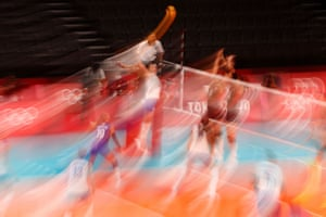 Natalya Goncharova of the Russian Olympic Committee in action in the women's volleyball.