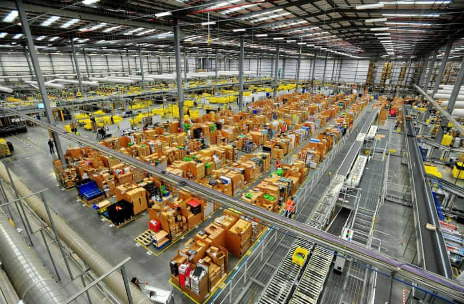 Awarehouse operated by Amazon, which is now worth more than $1tn
