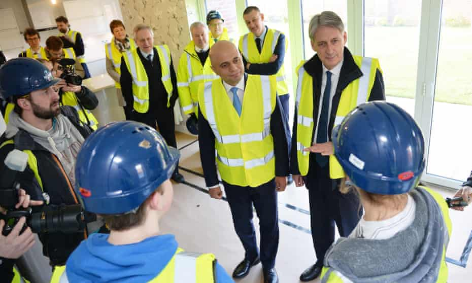 Philip Hammond and Sajid Javid visit a housing site in in Leicester.