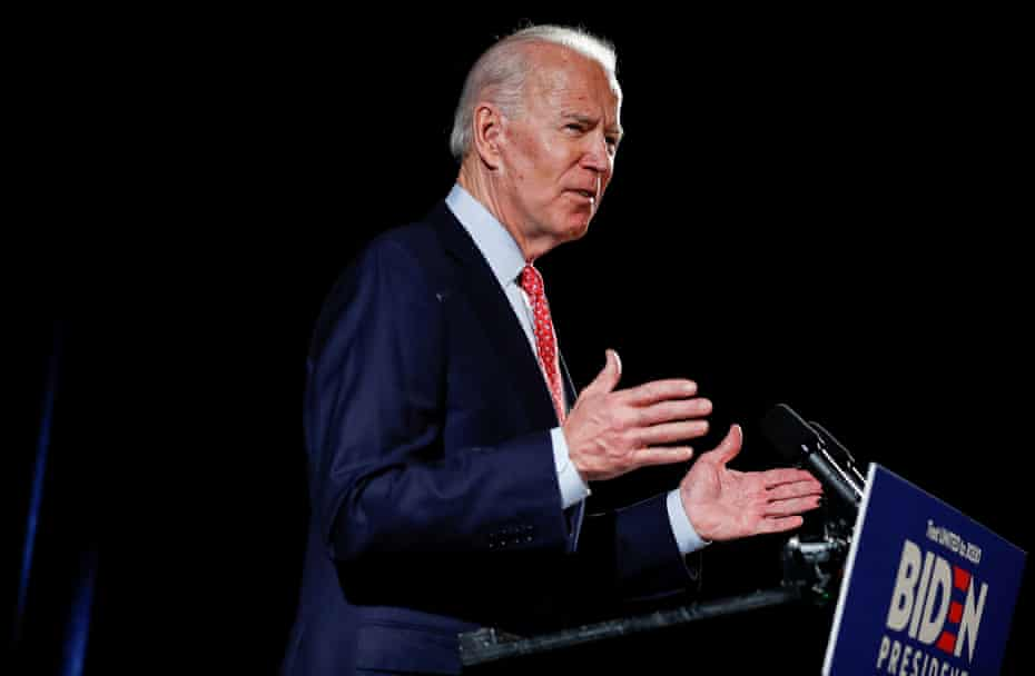 Joe Biden speaks about the coronavirus pandemic in Wilmington, Delaware, on 12 March.