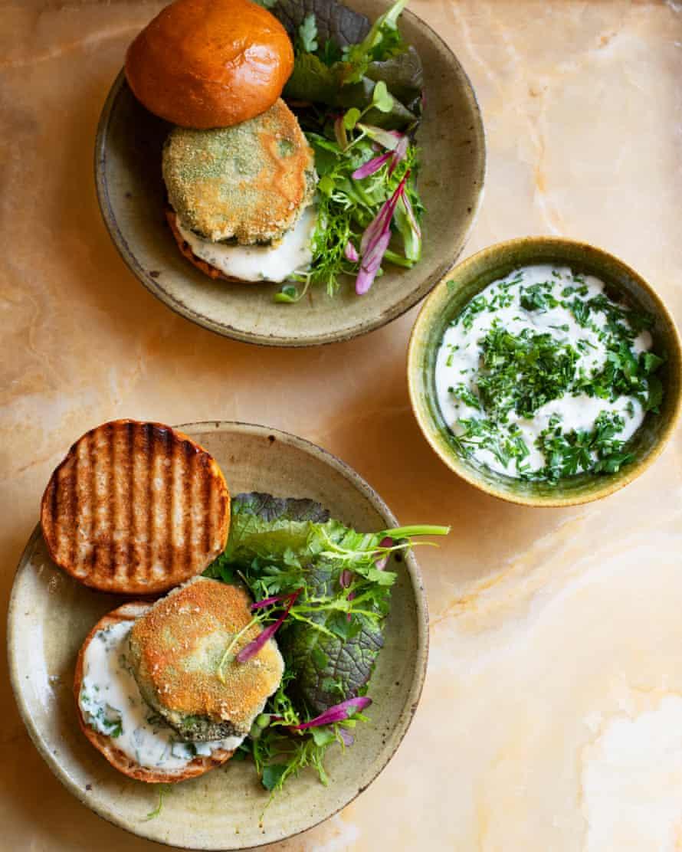 Give peas a chance: pea and mushroom cakes.