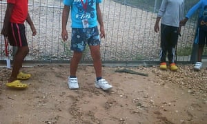 Children in detention on Nauru. Australia is one of the few countries to enforce mandatory detention of irregular arrivals, including children.