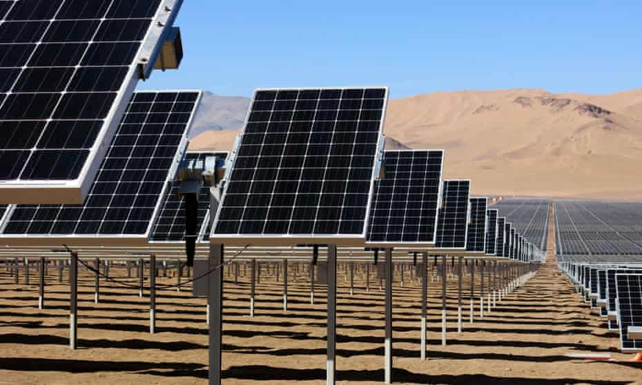A large solar plant in Chile, Latin America.