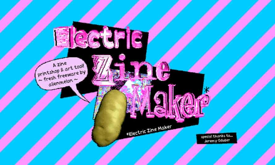 You too can paint ribbons of rashers ... Electric Zine Maker's homescreen.