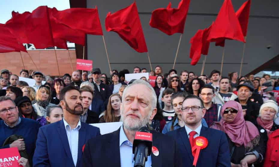 Jeremy Corbyn talks to a Momentum rally in Manchester in May.
