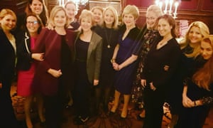Lubov Chernukhin, fourth from right, beside Theresa May, at the Goring hotel.