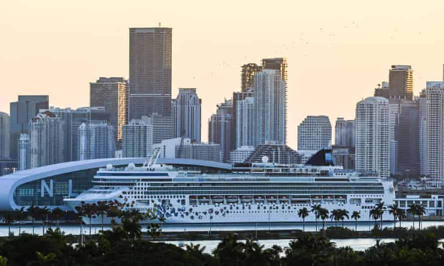 A docked Norwegian Gem cruise ship is seen at the Port of Miami in Miami Beach, Florida, in April.