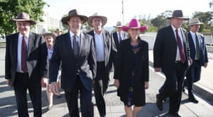 On the way to work: Nationals MPs all in Akubras on Tuesday morning.
